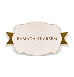 Ramadan kareem festive emblem with text and ribbon vector