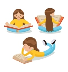 Young girl reading book sitting on floor vector