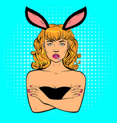 Beautiful young woman with rabbit ears holding vector