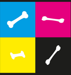 Bone sign white icon with vector