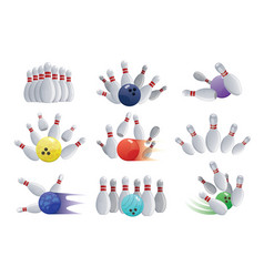Bowling ball crashing into the pins isolated on vector