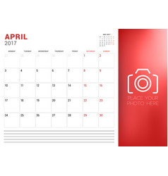 calendar planner template for april 2017 week vector image vector image