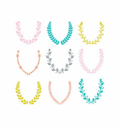 colorful leaves pattern laurel wreath set on white vector image vector image