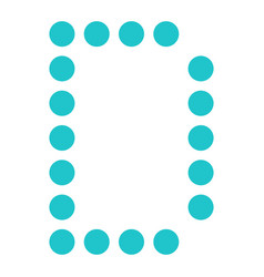 Digital letter d display board round dot vector