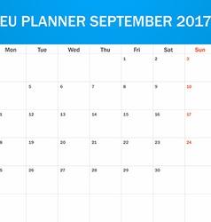 Eu planner blank for september 2017 scheduler vector
