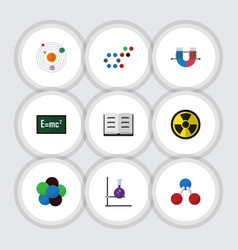 flat icon knowledge set of nuclear irradiation vector image