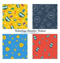 Four seamless patterns online shopping and mobile vector image vector image