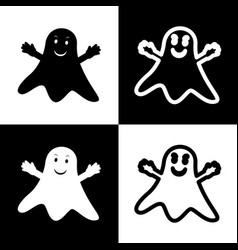 ghost isolated sign black and white icons vector image vector image