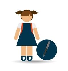 girl uniform school pen icon vector image vector image