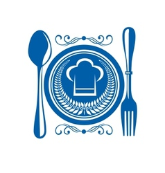 Gournet food award with plate and cutlery vector image vector image
