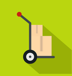 hand cart with two cardboard boxes icon flat style vector image