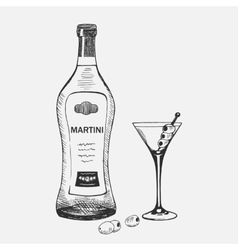 Hand drawn martini composition vector