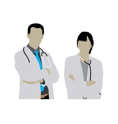 Male and female doctor silhouettes vector