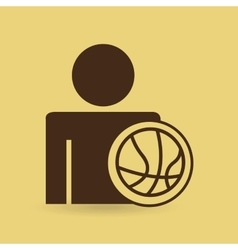 Man baskette ball design icon vector