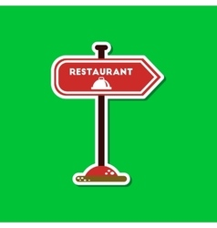 Paper sticker on stylish background restaurant vector