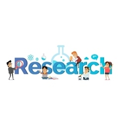 Research banner education concept flat style vector