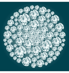 Round decorative diamond composition vector image vector image