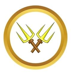 Sai ninja weapon icon cartoon style vector