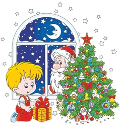 Santa and Boy with Christmas gift vector image