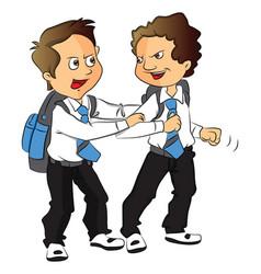 Schoolboys fighting vector