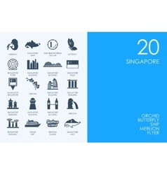Set of blue hamster library singapore icons vector