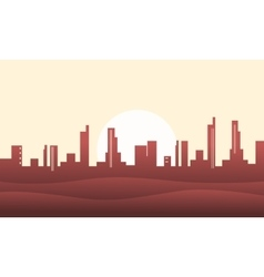 Silhouette of hill and city backgrounds vector