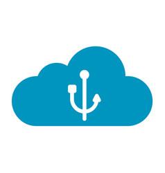 Thin line cloud usb icon vector