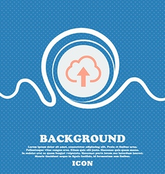 Upload from cloud sign icon Blue and white vector image