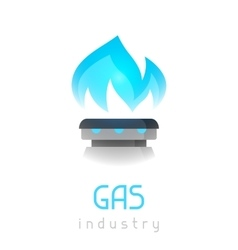 Blue gas flame on stove industrial vector