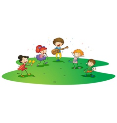 Kids enjoying music vector