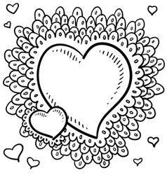 doodle heart wreath vector image