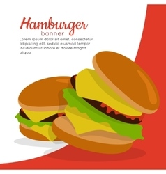 Gamburger banner hamburger with meat junk food vector