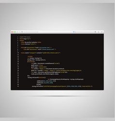 Modern browser with simple html code of web page vector
