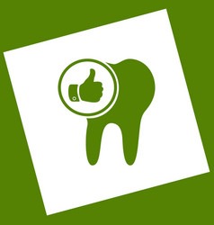 Tooth sign with thumbs up symbol  white vector