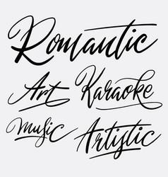 Romantic and karaoke hand written typography vector