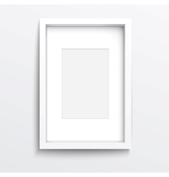 White vertical frame on gray wall vector