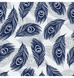 Seamless pattern with hand drawn feathers peacock vector