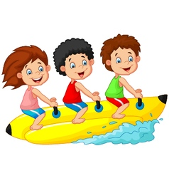 Happy kids riding a banana boat vector