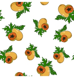 Seamless pattern of papaya vector