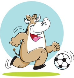 Cartoon cow playing soccer vector