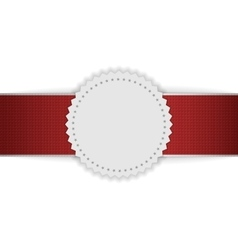 White blank badge on red ribbon vector