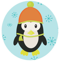 Penguin icon app mobile vector