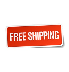 Free shipping red square sticker isolated on white vector