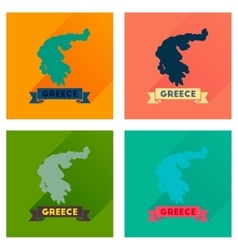 Concept flat icons with long shadow greece map vector