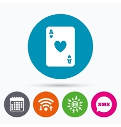 Casino sign icon playing card symbol vector