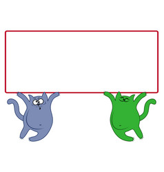 amusing cats with large rectangular banner vector image