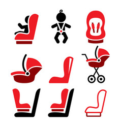 baby car seat icons toddle car seat - safe vector image