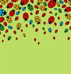 Background with variegated ladybugs vector