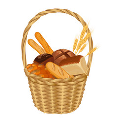 Basket filled with baked goods realistic style vector