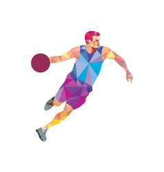 Basketball player dribble front low polygon vector